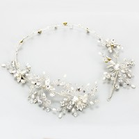 Dower me Silver Crystal Headband Tiara Rhinestone Wedding Hair Vine Bridal Hair Band Accessories Women Head Pieces