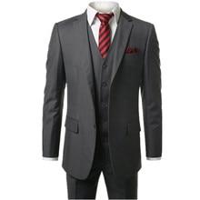 new Dark grey Men's Modern Fit 3-Piece Suit Blazer Jacket Tux Vest & Trousers  Custom make to order, (the coat + pants+ vest)