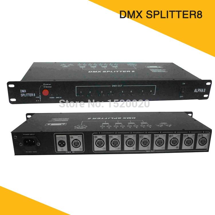 2 Pcs/Lot 8 Routes Dmx amplificateur de Signal pilote DMX séparateur 8 sortie distributeur 3pin Dmx prises Dmx512 distribuer le dispositif