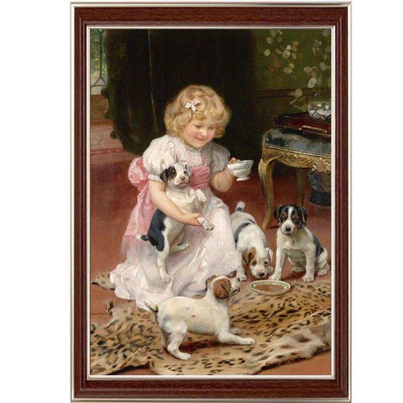 Doré Panno, Couture, Broderie, bricolage Peinture de Portrait, point de Croix, 14ct fille chiens à la maison au point de Croix, Ensembles Pour Embroidery28.