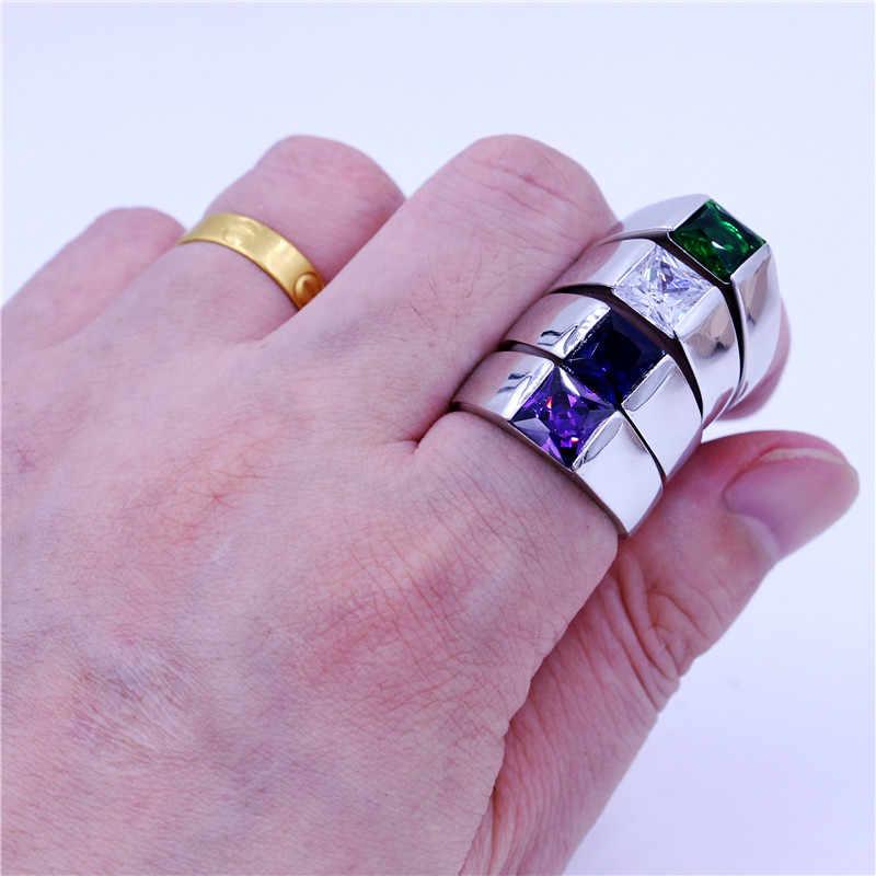Choucong 4 色の誕生石男性のためプリンセスカット 3ct 5A ジルコン cz 925 スターリングシルバー男性婚約バンドリング
