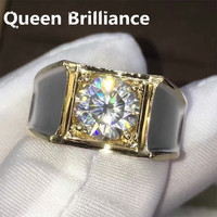 Solid 14K 585 White Gold 2 Carat ct F Color Round Brilliant Lab Grown Moissanite Diamond Engagement Wedding Ring For Men