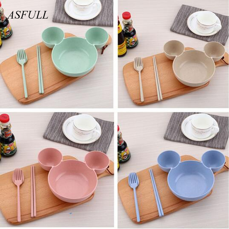 ASFULL food grade Wheat material plasitc mickey mouse big Head bowl Fruit plate tableware dish Spoon Chopsticks lunch box for-in Bowls from Home \u0026 Garden on ... & ASFULL food grade Wheat material plasitc mickey mouse big Head ...