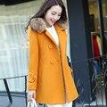 2016 outono e inverno roupas novas Mulheres Coreanas casaco de lã Meninas casaco longo parágrafo Magro outono e inverno casaco Nizi