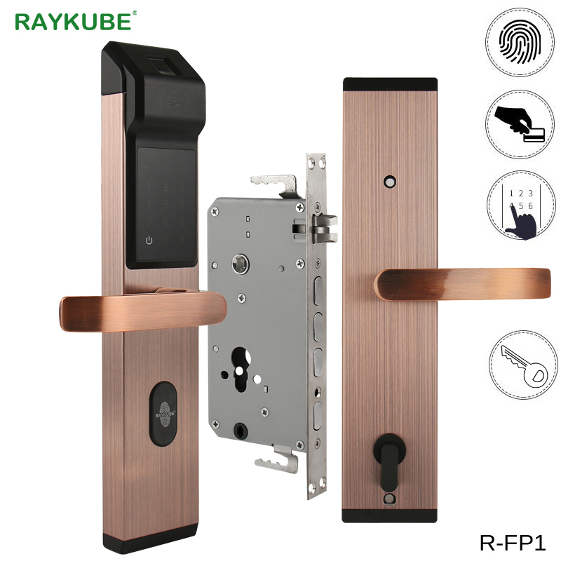 RAYKUBE Biometric Fingerprint Digital Lock Intelligent Electronic Door Lock With Fingerprint Verification Password RFID R FP1
