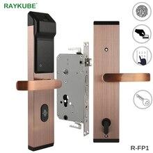 RAYKUBE биометрический цифровой замок с отпечатком пальца интеллектуальный электронный дверной замок с проверкой отпечатков пальцев и паролем и RFID R-FP1