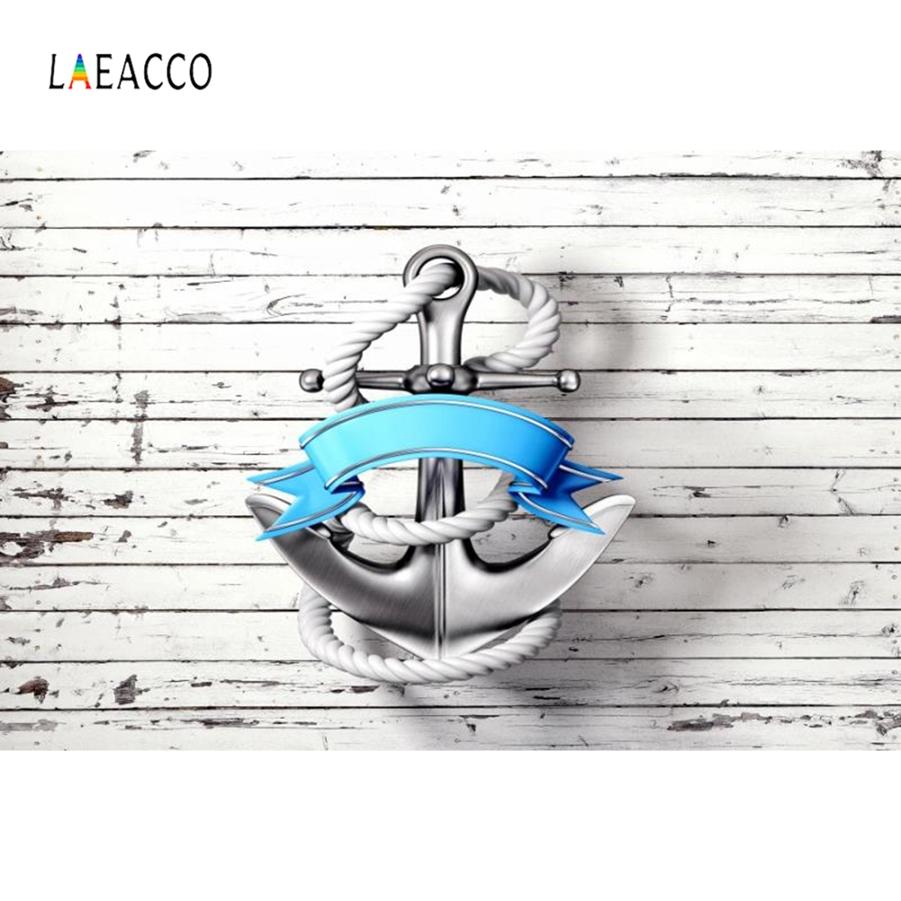 Laeacco Wooden Board Ship Anchor Backdrop Party Decoration Photocall Customized Photography Background Digital Photo Studio