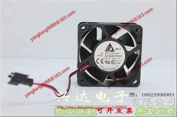 Free Shipping For DELTA AFB0612VH, -A DC 24V 0.28A, 60x60x25mm 50mm, 2-wire 2-pin connector Server Square Cooling Fan free shipping 24v dc mig welding wire feeder motor single drive 1pcs