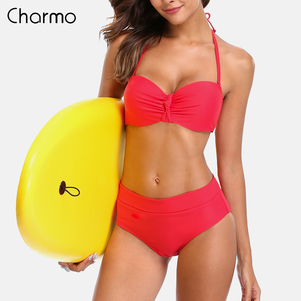 Charmo Women <font><b>Bikini</b></font> Set Low Waist Swimsuit swimwear back Bandage <font><b>Bikini</b></font> <font><b>Sexy</b></font> <font><b>Push</b></font> <font><b>Up</b></font> Vintage Bathing Suit bow-knot Beachwear image