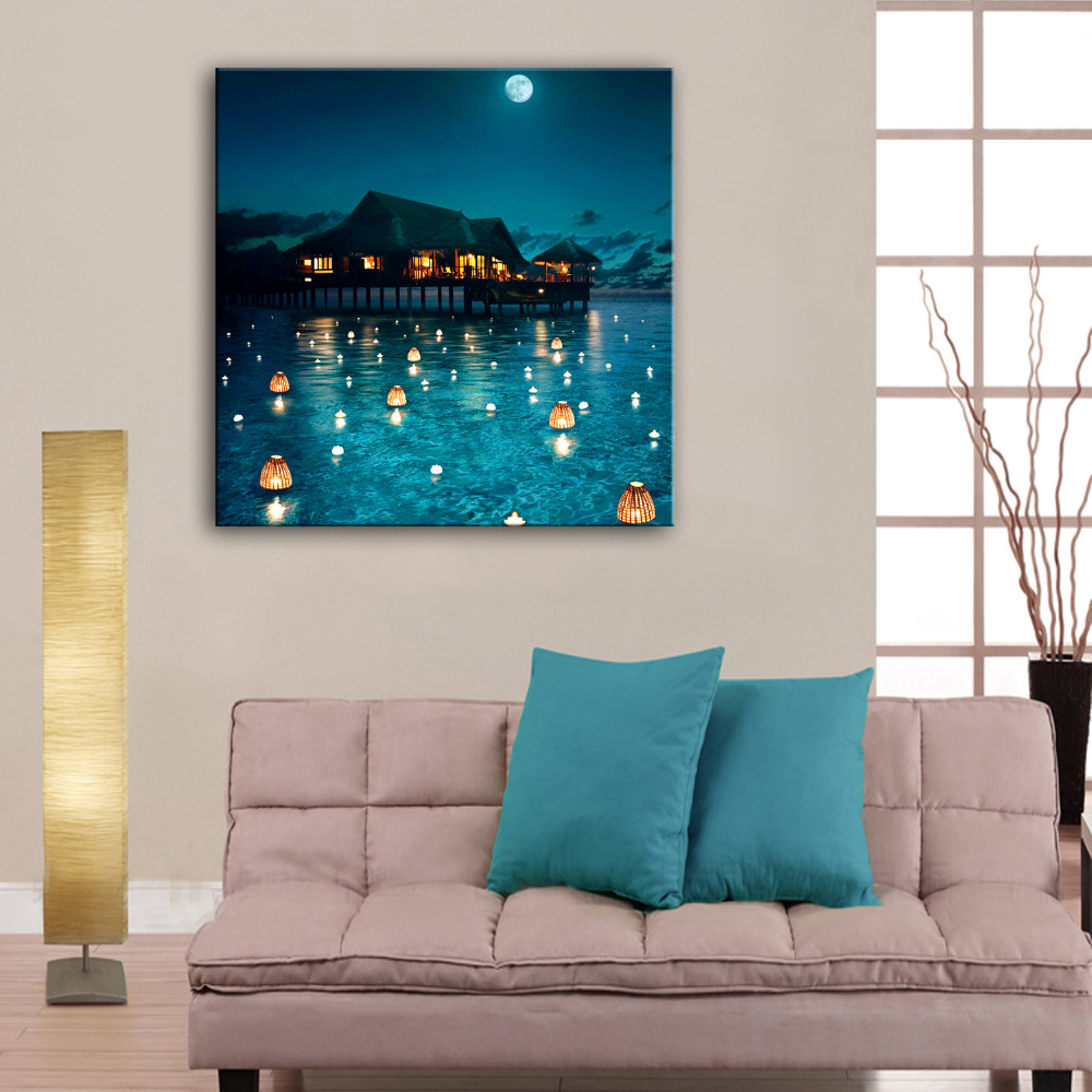 Stretched Canvas Prints Water Lamp LED Flashing Optical Fiber Print LED Wall Art LED Decorations