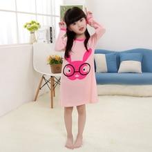 New Listing 2017 new Spring autumn children's long-sleeved 100% cotton nightgown girls cartoon children's pajamas baby sleepwear