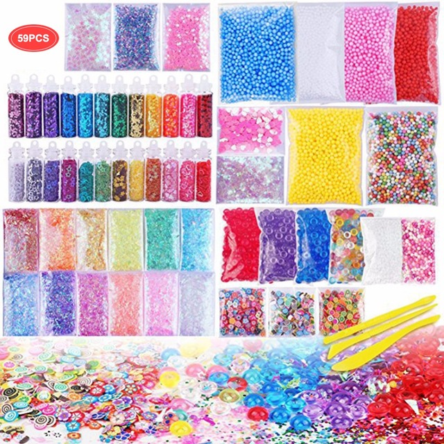 Slime Supplies Kit, 59 Packs Slime Beads Charms Slime Tools For Slime Making DIY Craft Children's Funny Toy Christmas Gift Slide