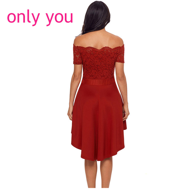 4a803c1682c ONLY YOU Off Shoulder Dress Summer 2018 Women Sexy Party Vestido Elegant  Red Lace Dip Hem High Low Dress with Bow Belt LC61834-in Dresses from  Women s ...