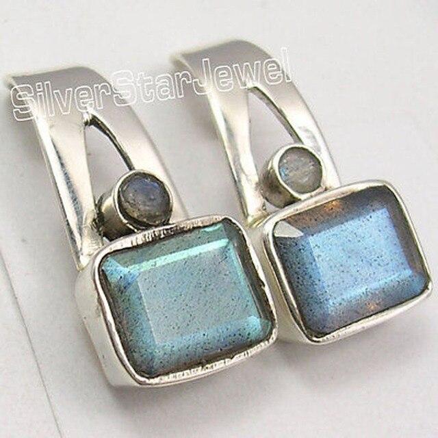 Silver GENUINE LABRADORITE 2 STONE UNISEX Studs Earrings 2.0 CM ONLINE BUY
