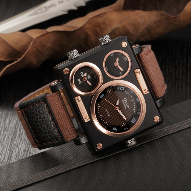 Men Luxury Brand  Quartz Clock Watch  With Multiple Time Zones