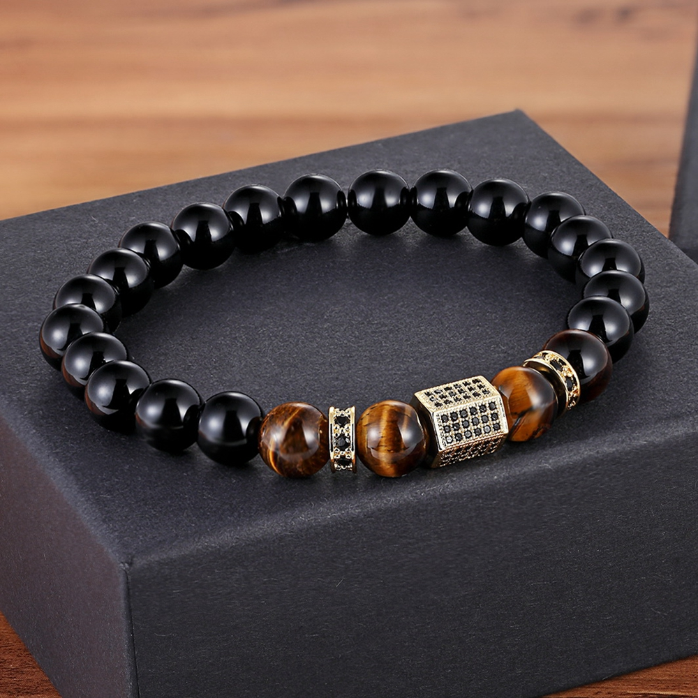 XQNI Matte Onyx Stone&Tiger Eye Combination Stitching with Cubic Zircon Hand Jewelry Beads Bracelet Elastic Stretch Men Bracelet