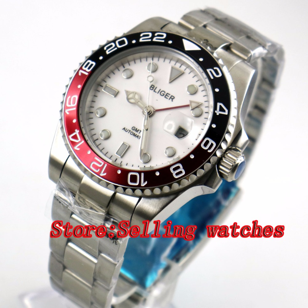 40mm Bliger White Dial Red & black bezel red GMT Luminous Hands Sapphire Glass Automatic Movement Men's Mechanical watches 40mm bliger white dial white ceramic bezel gmt luminous hands sapphire glass automatic movement men s mechanical watches