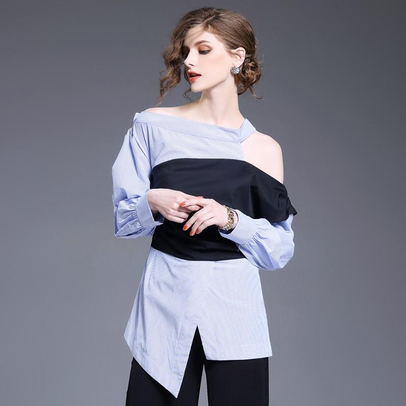 Nouvelle mode épaule froide femmes Blouse asymétrique décontracté fille chemise col biais Blouses rayées femme chemises ssk025