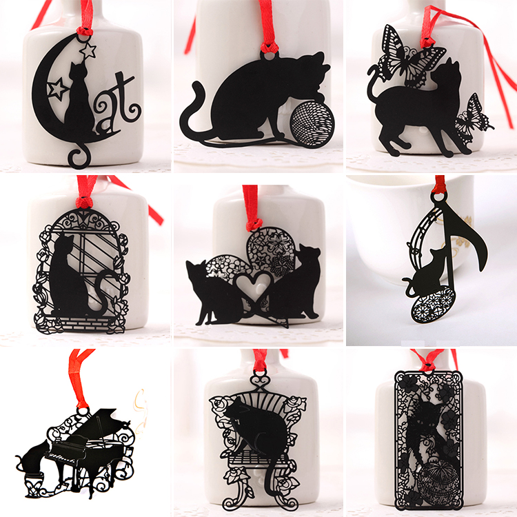 Creative Black Cat Series Bookmarkers Cute Metal Hollow Book Mark For Books Paper Clip Teachers Students Gift School Stationery