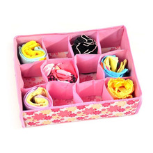 New 12 Grid Bag Non-Woven Fabric Folding Case Storage Box For Bra Socks underwear organizer for cloth print storage