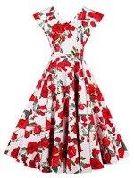 Kissloves Women Dress Summer Vintage Female Sleeveless Red Floral Print Girl Dresses A Line V Neck