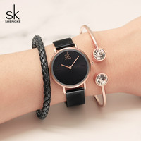 Shengke Watches Women Top Brand Luxury Steel Quartz Watches Ladies Bracelet Clock Relogio Feminino 2018 SK