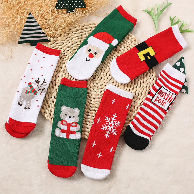 Cotton Spring Winter Autumn Baby Girls Boys Kids Socks Children Striped Terry Snowflake Elk Santa Claus Christmas Bear Socks