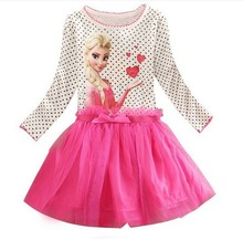 2016 2 7 Years Summer Baby Girl Dress Princess Vestidos Fever Anna Elsa Dress Children Clothing