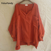 Orange Long Sleeve Blouse Women Plus Size Round Neck Loose Pockets Casual Cotton Blouse Shirt JYMM114