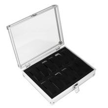 12 Relojes Cuadrícula de Almacenamiento Caja de Plástico Rectángulo Reloj Sostenedor de la Exhibición de La Joyería Caso de Alta Calidad De Aluminio LXH