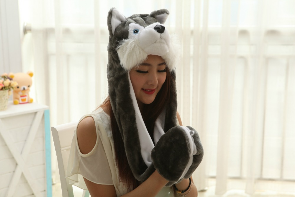 3pcs Cartoon Animal Siberian husky Dog Ears Plush Hats Cosplay Costume Warm Cap Cosplay Prop Hat scarf glove in one