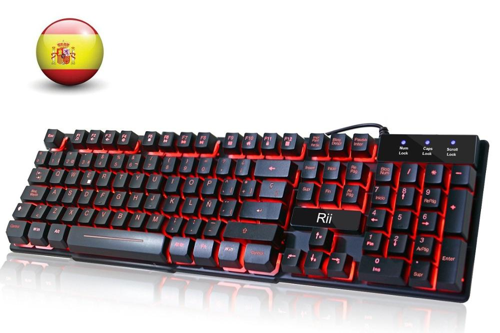 Rii RK100 3-Color LED USB Wired Spanish Gaming Keyboard Mechanical-feeling (RED,Blue ,Purple)