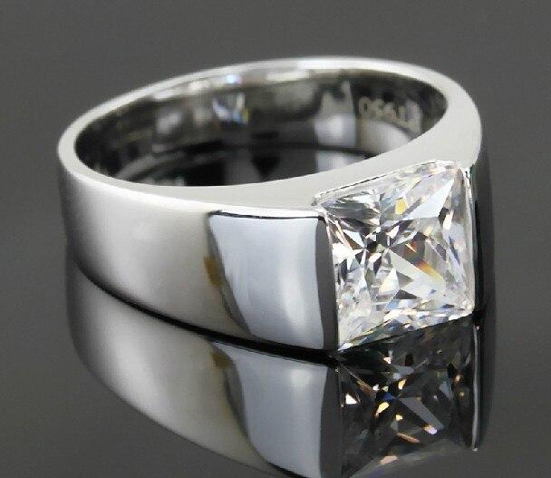 Genuine 18k White Gold 750 Gorgeous 2ct Princess Cut Diamond Wedding Ring For Men Amazed G18k