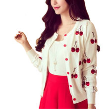 Fall summer spring women Sweater cherry Embroidery Pattern Cardigan lady jacket coat Long Sleeve Short Knitting Cardigan White(China)