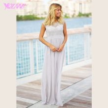 Sliver Lace Bridesmaid Dresses Long Wedding Party Gown Dress Chiffon Pleats Zipper Back Vestido De Festa