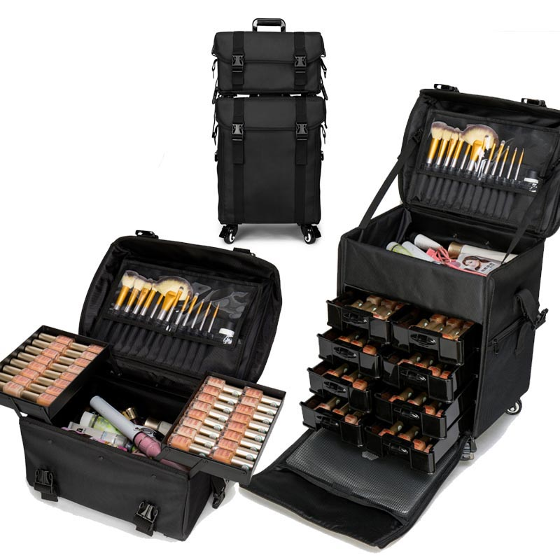 LeTrend Multifunction Rolling Luggage Sets Spinner Multi-layer Suitcase Wheels Women Oxford Professional Cosmetic Case Trolley