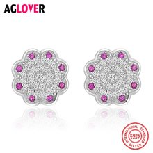 AGLOVER Forever Clear Purple CZ Fashion 925 Sterling Silver Circle Push-back Women Simple Stud Earrings Fine Jewelry