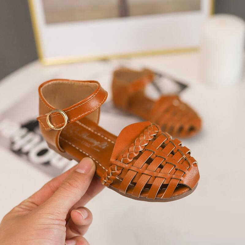 2019 สาวฤดูร้อนรองเท้าแตะสำหรับทารกเด็กวัยหัดเดิน PU หนังโรมเด็กรองเท้าเจ้าหญิงหวานนุ่มสานเด็กชายหาดรองเท้าแตะ