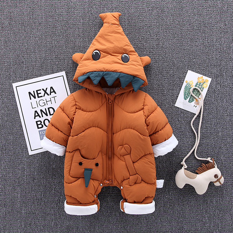Winter Baby Rompers Thick Warm Baby Boys Clothes 2018 New Cartoon Toddler Baby Jumpsuit Overalls Newborn Infant Clothing Outfit free shipping winter newborn infant baby clothes baby boys girls thick warm cartoon animal hoodie rompers jumpsuit outfit yl page 4