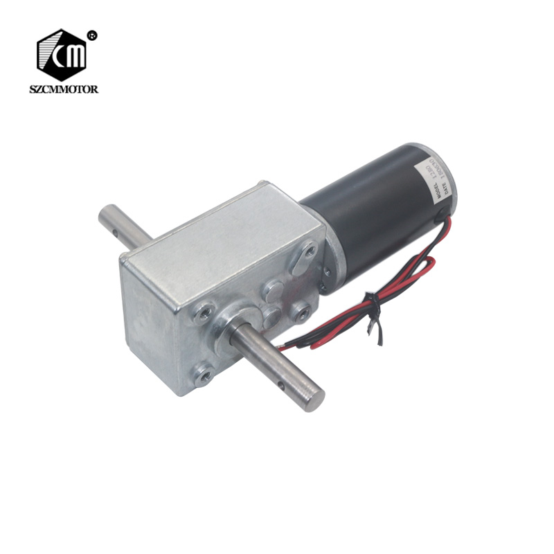 5840-31ZY Long Output Axis Worm Geared Motor 12V 24V DC Large Torque High-power Dual Shafts Worm Gear Motor 12vdc worm boxing geared motor 100w power electric motors with gear boxes gear head large torque