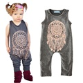 2017 Brand Baby Girls Cotton Sleeveless Romper Feather Print Summer Jumpsuit Clothing For Girls One Piece Clothes