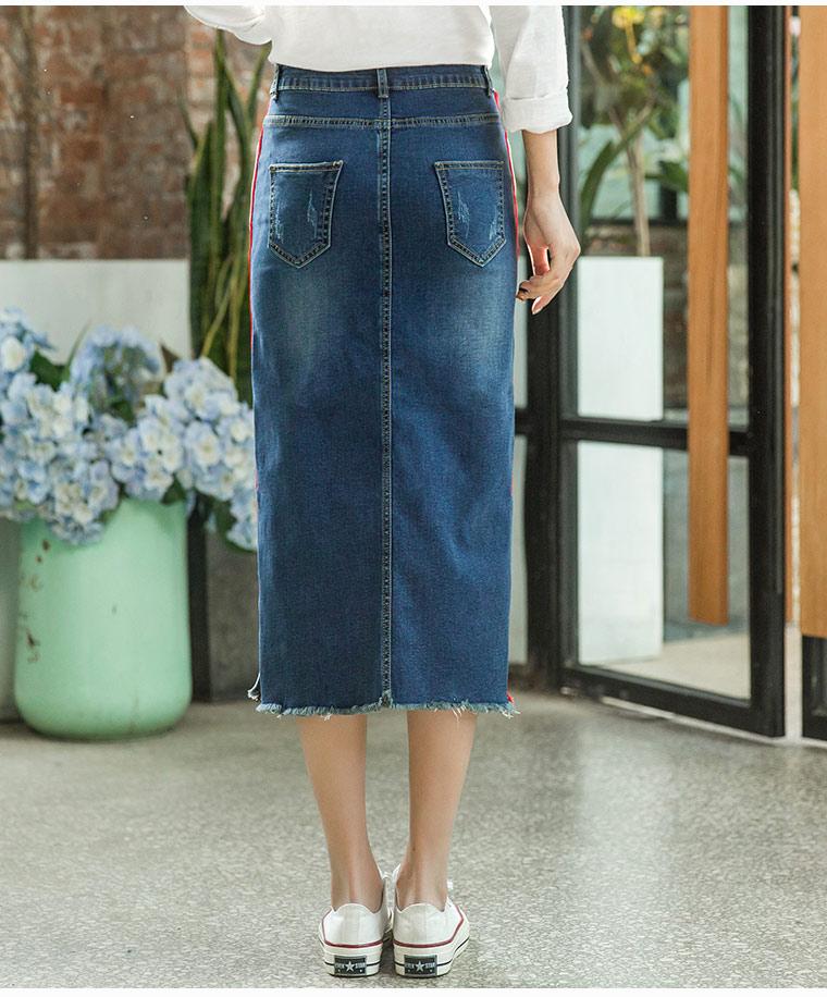 Jupes Femme Blend mollet Empire Pour Bleu Printemps Sunner Denim Casual Droite Femmes Qqd0803 Mode Automne Coton Nouveau Mi FpRSE