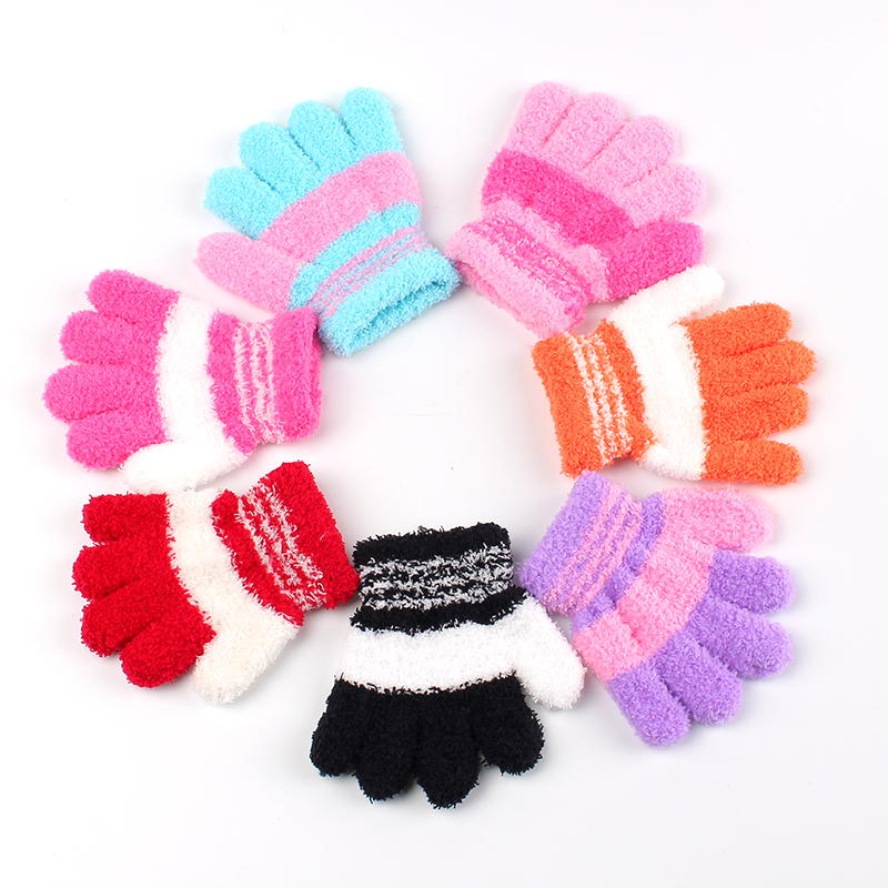 New Children Gloves Girl Boys Soft Coral Fleece Stripe Full Finger Glove Warm Winter Mittens 2016 Kids Accessories Winter Gloves