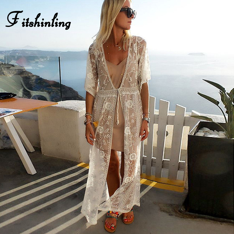 Fitshinling 2019 New Lace Beach Cover-Up Swimwear Transparent Slim Sexy Kimono Holiday Boho Bikini Outer Cover Long Cardigan New