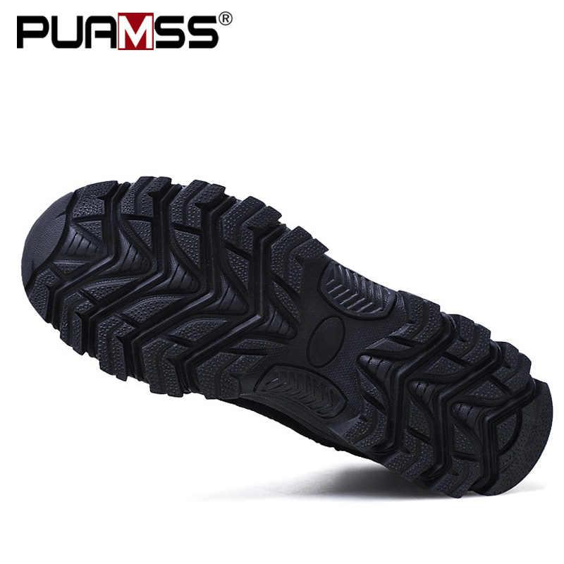 2019 yeni erkek botları ayak bileği kauçuk askeri postal erkekler Sneakers rahat ayakkabılar açık iş güvenliği botları