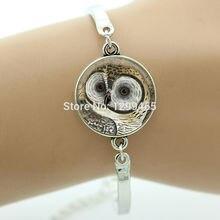 Vintage hottest animal jewelry Wearable Art Bracelet OWL jewelry steampunk men women Birds charms bracelets handmade B704