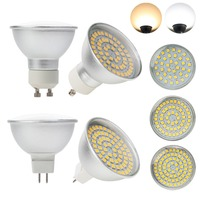 Bombillas LED GU10 MR16, 4W, 6W, 8W, 3528 SMD, 36LED, 54LED, 72LED, 110V, 220V, CA/CC, 12V, 24V, lámparas halógenas de vidrio de repuesto