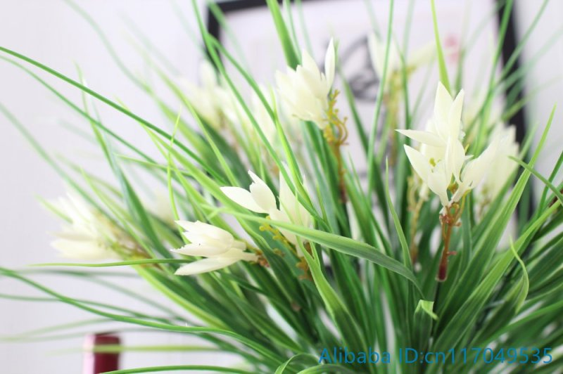 Aliexpress buy 1 pcs artificial plastic white flowers green aliexpress buy 1 pcs artificial plastic white flowers green long leaves grass plant home decoration f372 from reliable plants home decor suppliers on mightylinksfo