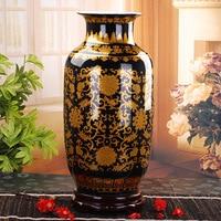 Jingdezhen Vase Floor Ceramic Black Golden Antique Large Vase Home Furnishing Articles Sitting Room Large Floor Vases