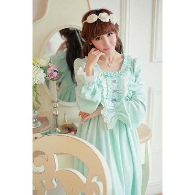 2017 Lace Nova Camisola Frete Grátis Confortável Cristal Sa16006 Longo Sleepwear Princesa Pijamas das Mulheres Camisola de Inverno
